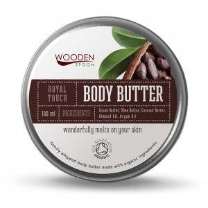 Soft organic body butter with cocoa, coconut and macadamia Wooden Spoon