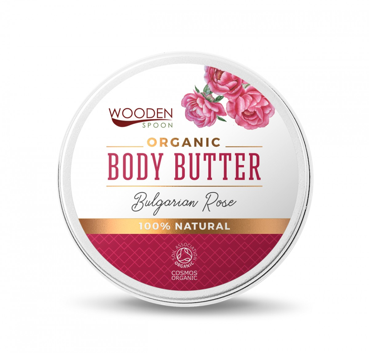 Organic body butter cream with organic rose oil Bulgarian Rose Wooden Spoon
