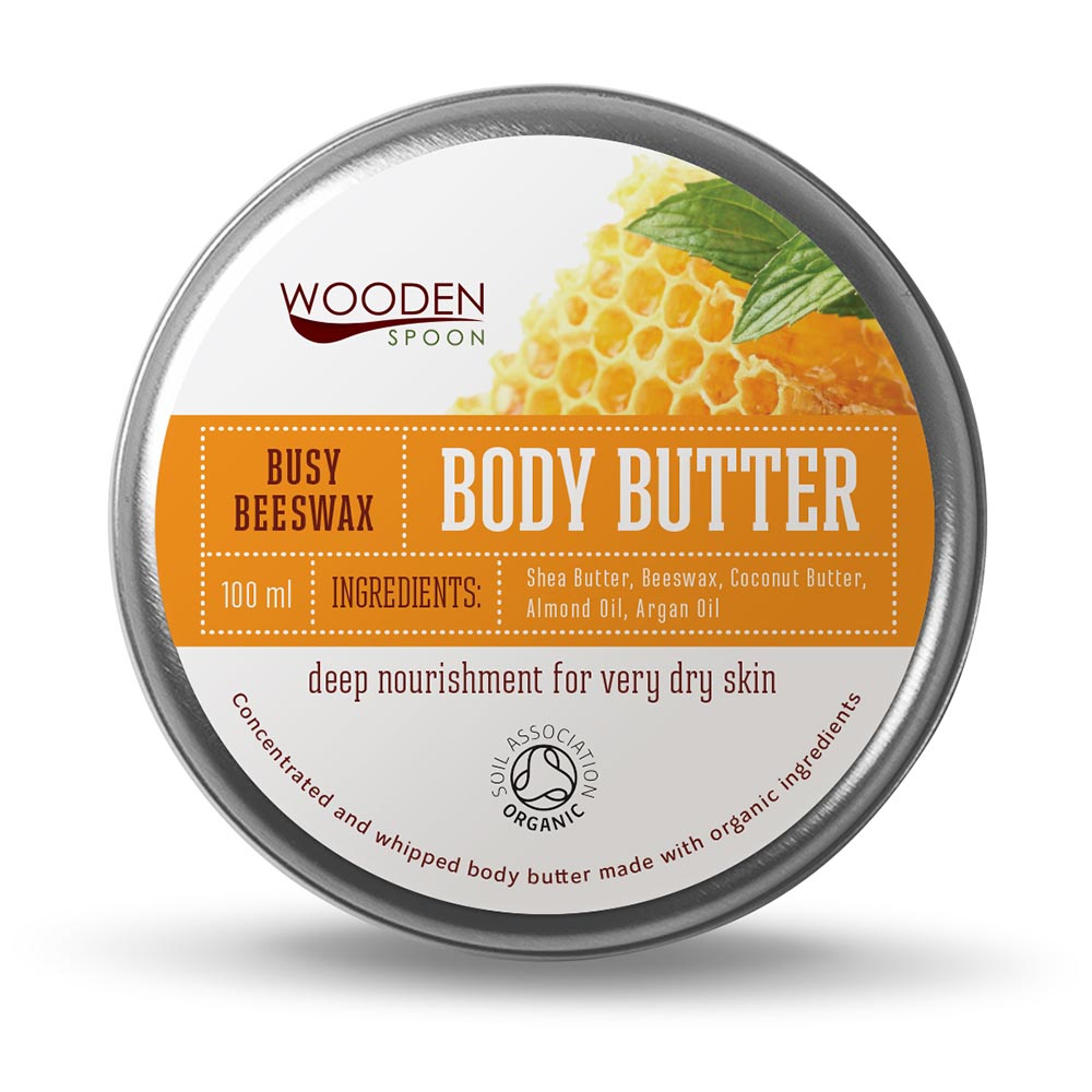 Organic busy beeswax body butter cream Wooden Spoon