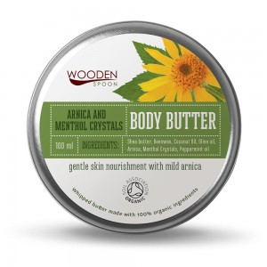 Organic body butter cream with arnica and menthol crystals Wooden Spoon