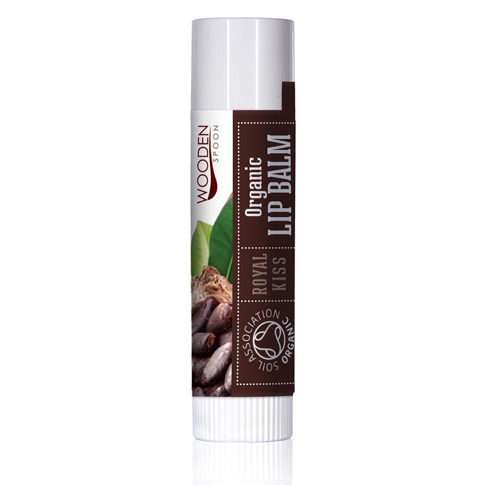 Organic Lip Balm Royal Kiss with cocoa Wooden Spoon