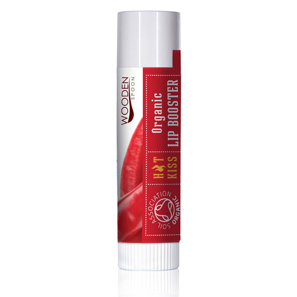 Organic lip booster Hot Kiss with chili extract Wooden Spoon