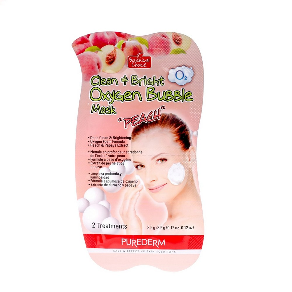 Clean + Bright oxygen face mask with peach extracts Purederm