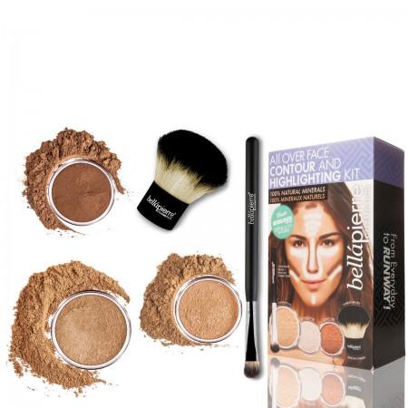 Контуриращ комплект за лице Highlight and Contour Dark Bellapierre Cosmetics