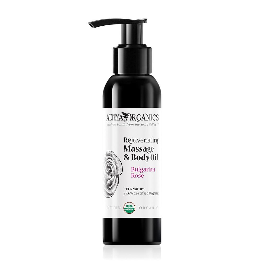 Bio organic body massage oil with Bulgarian rose oil Alteya Organics