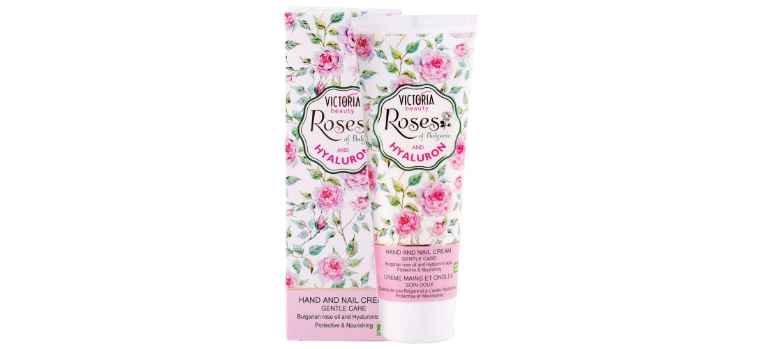 Крем за ръце и нокти с розово масло Roses of Bulgaria & Hyaluron Victoria Beauty