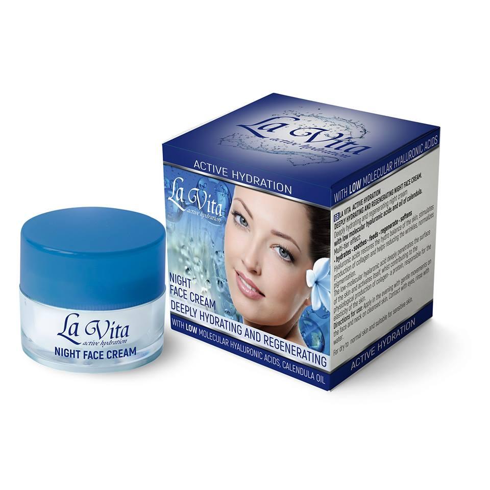 Хидратиращ и регенериращ нощен крем за лице с хиалуронова киселина La Vita