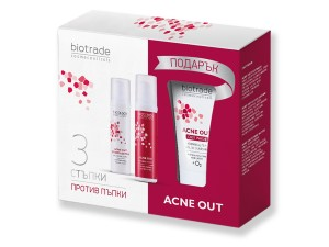 Anti acne set with Active lotion, HydroActive cream and a gift Acne Out Biotrade