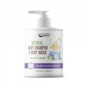 Natural shampoo for hair and body for babies Organic Herbs Wooden Spoon