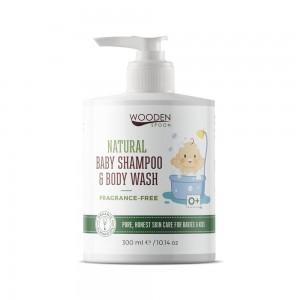 Natural baby shampoo for hair and body Fragrance-Free Wooden Spoon