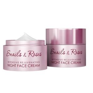 Интензивен подмладяващ нощен крем за лице с екстракт от охлюви и розово масло Revive