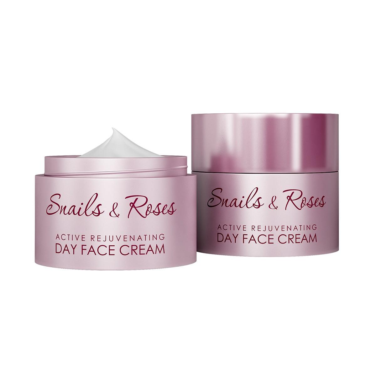 Интензивен подмладяващ дневен крем за лице с екстракт от охлюви и розово масло Revive