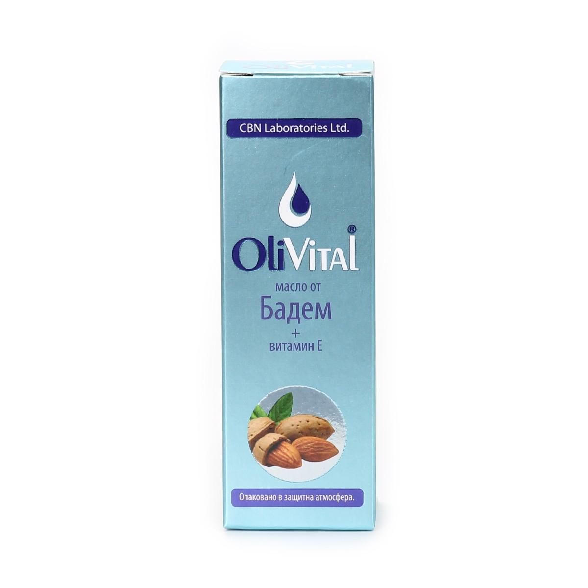 Natural almond oil with Vitamin E OliVital CBN Laboratories.