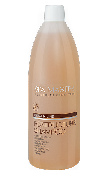 Hair restructuring shampoo with keratin Spa Master Molecular Line Rosa Impex 970 ml.