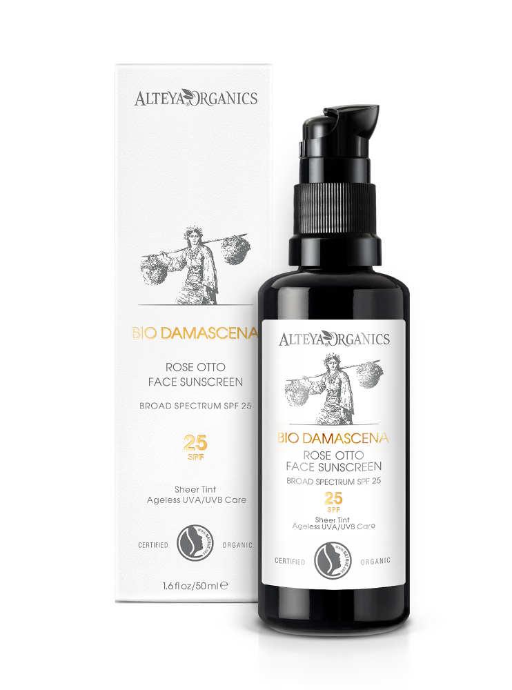 Био органичен слънцезащитен крем за лице с SPF 25 Bio Damascena Alteya Organics