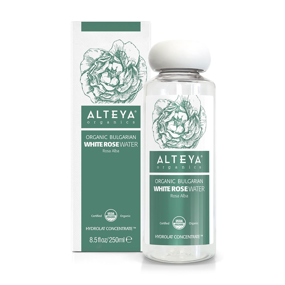 Био органична розова вода от бяла роза Алба Alteya Organics 250 мл. с дозатор
