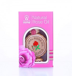 Natural Bulgarian rose oil in a wooden souvenier Lema