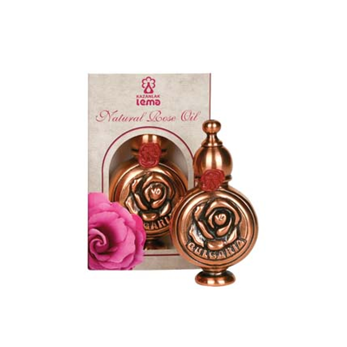 Natural Bulgarian rose oil in a copper souvenier Lema 1,0 ml.
