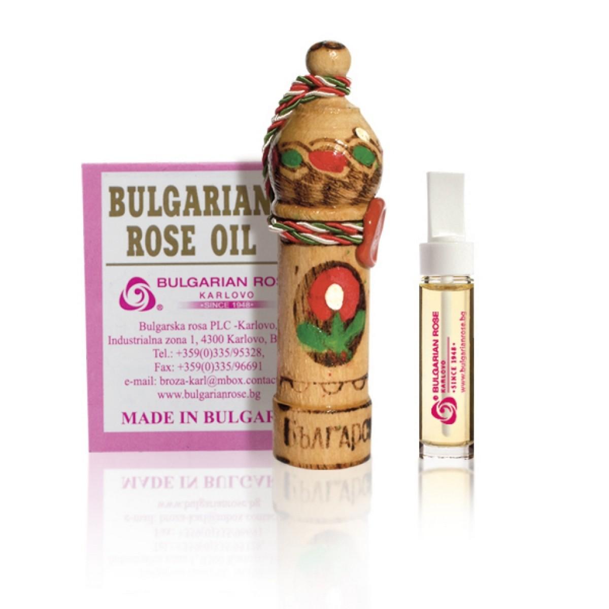 Натурално розово масло в дървен мускал Българска Роза Карлово