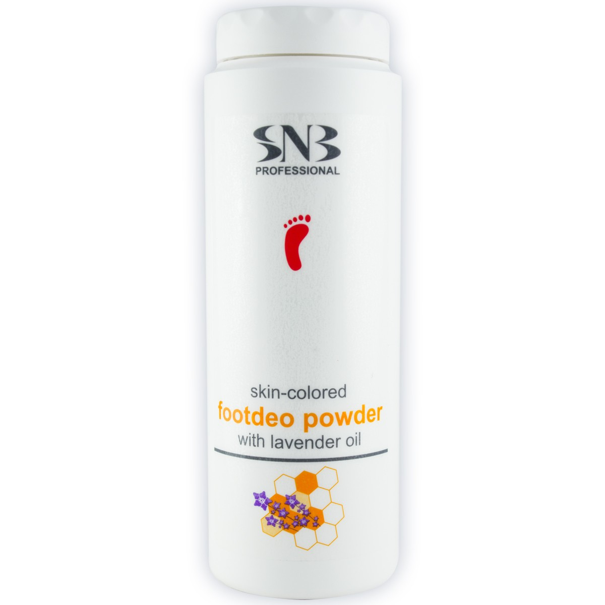 Skin-coloured foot deo powder with lavender SNB