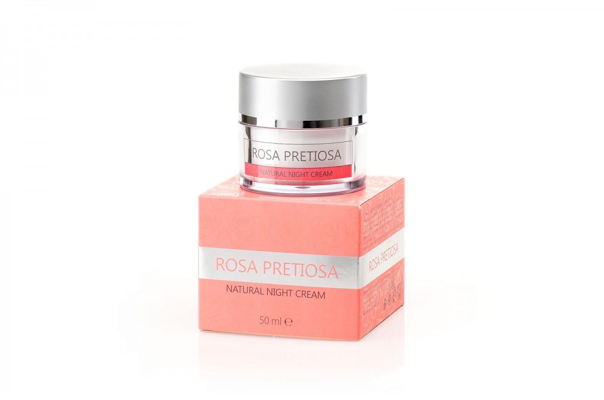 Natural night cream for face Rosa Pretiosa Natural Cosmetic