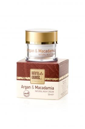 Natural night cream for face Argan & Macadamia Natural Cosmetic